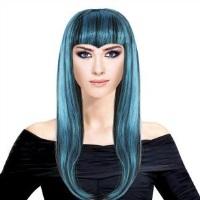 """Парик """"Длинные волосы  Черно-голубой"""